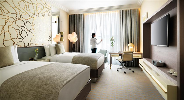 双人间标准客房空间布局设计实景图