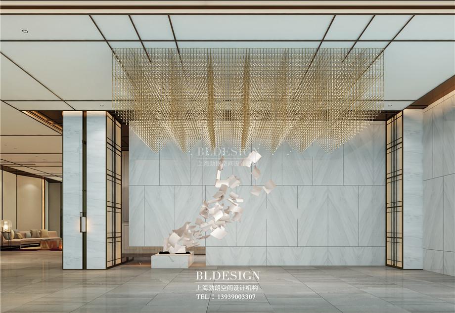 河南安阳曙光精品商务酒店大厅装置艺术设计方案效果图