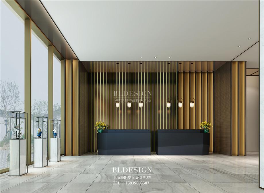 河南安阳曙光精品商务酒店大厅接待台设计方案效果图