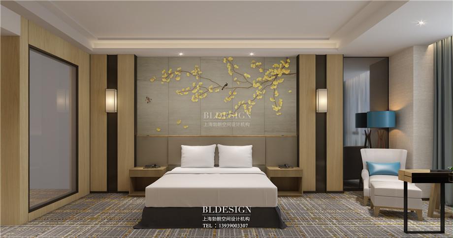 河南安阳曙光精品商务酒店大床房装修设计方案效果图