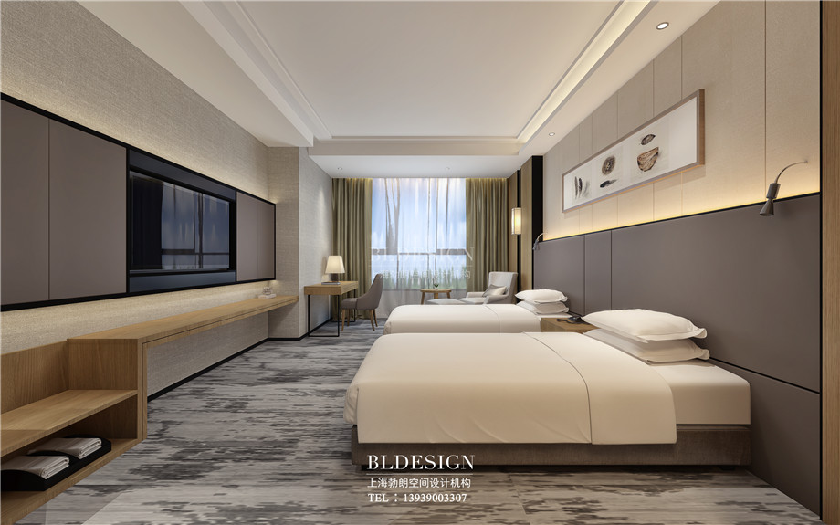 河南安阳曙光精品商务酒店标准客房装修设计方案效果图