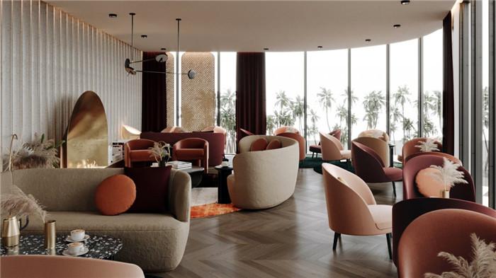 勃朗酒店设计公司推荐国外轻奢风豪斯酒店大堂吧设计
