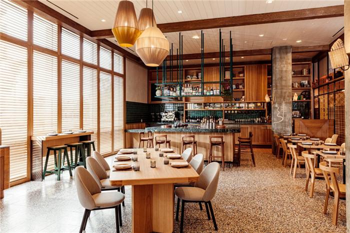 郑州勃朗设计分享简约自然风城市度假酒店餐厅设计案例