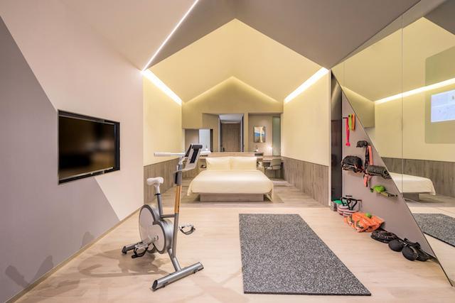 亚朵首家新知社区中心酒店——爱琴海亚朵S酒店健身主题客房设计