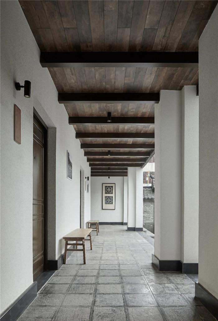 中式民宿设计  河南禹州钧瓷文化主题民宿走廊设计方案