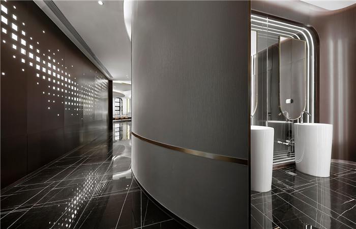 卫生间装修设计-以山与海为主题的酒店大堂公区&餐厅改造设计方案