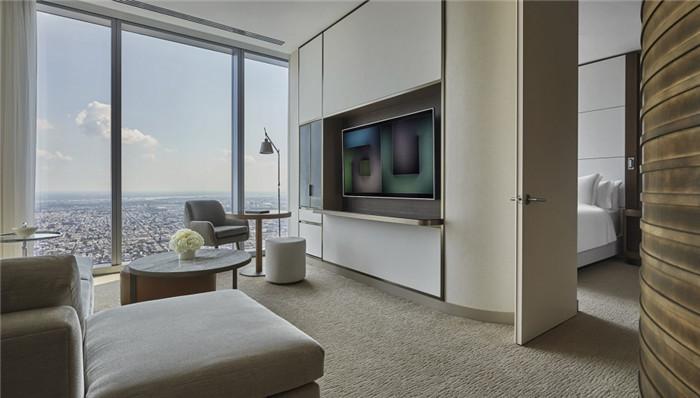 酒店套房客厅设计-勃朗设计分享摩登都市风美国费城四季酒店设计