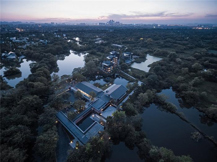 将西溪湿地美态融入室内的杭州木守度假酒店设计鸟瞰图