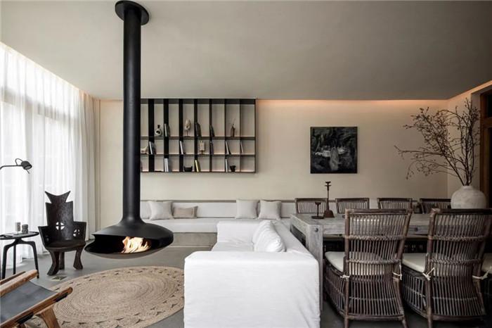 民宿大厅设计-回归山野的纯白极简风精品民宿装修设计方案