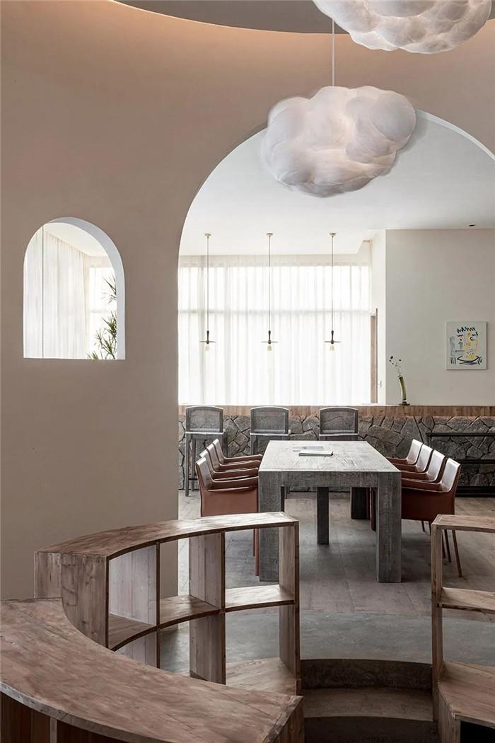 民宿餐厅设计-回归山野的纯白极简风精品民宿装修设计方案