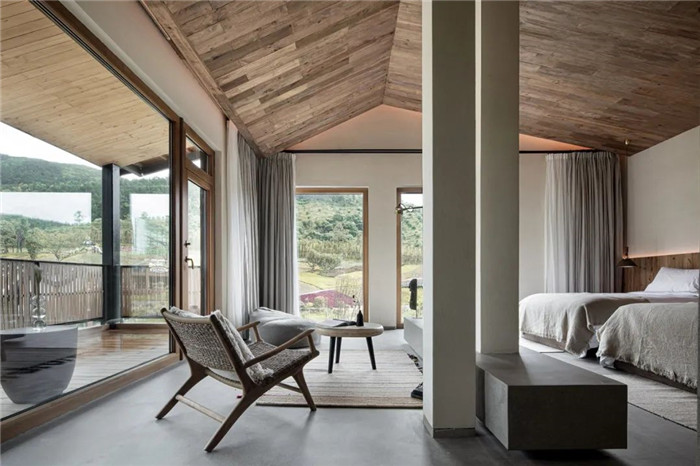 民宿标准间设计-回归山野的纯白极简风精品民宿装修设计方案