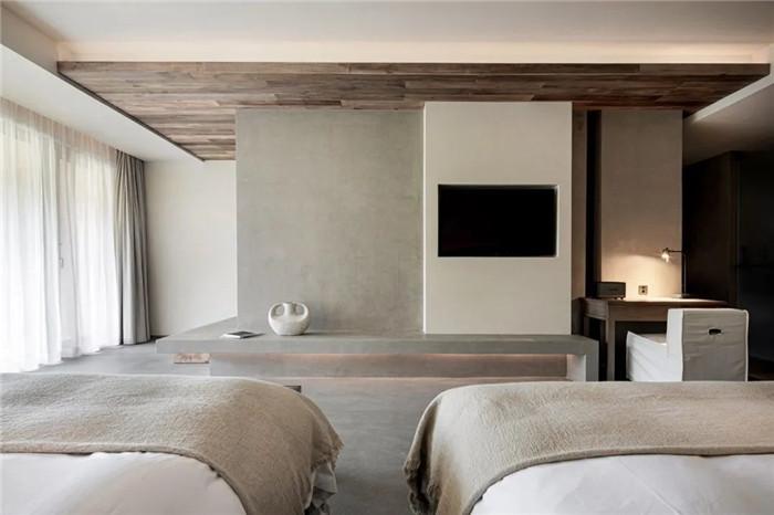 民宿标准客房设计-回归山野的纯白极简风精品民宿装修设计方案