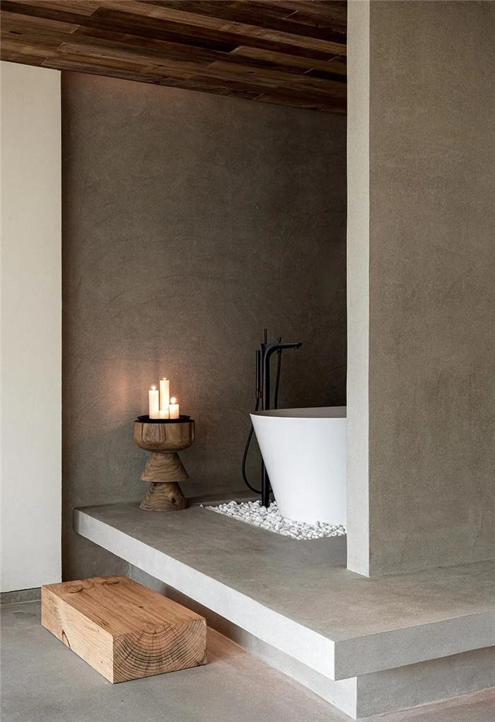 民宿浴室设计-回归山野的纯白极简风精品民宿装修设计方案