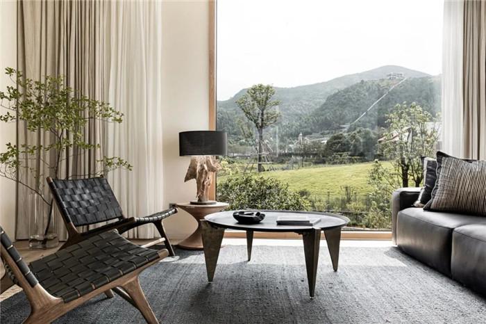 民宿套房客厅设计-回归山野的纯白极简风精品民宿装修设计方案