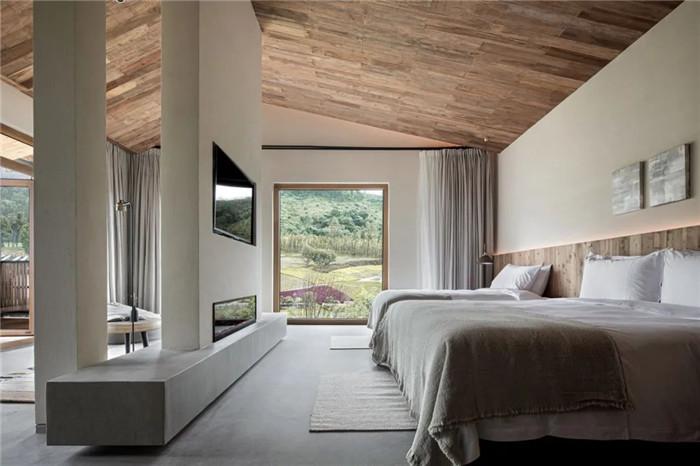民宿标准房间设计-回归山野的纯白极简风精品民宿装修设计方案