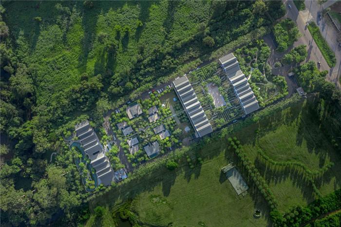 酒店鸟瞰图-沉浸在奇妙自然中的仙境森林主题度假酒店设计案例