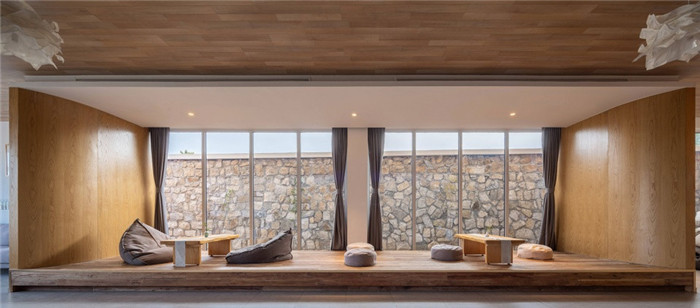 民宿书吧设计-民宿设计鸟瞰图-纯白原木风景区内部2层独栋民宿设计方案