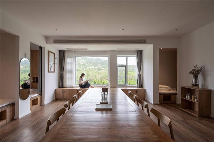 民宿餐厅设计-民宿设计鸟瞰图-纯白原木风景区内部2层独栋民宿设计方案