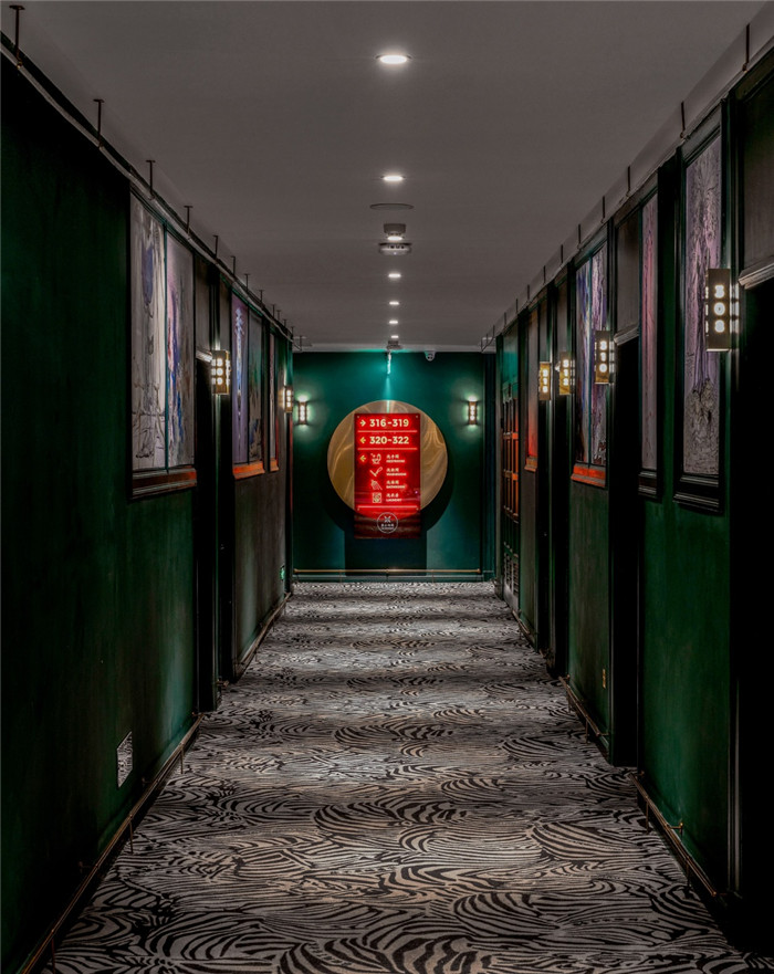酒店走廊设计-杭州ARTDECO复古风精品酒店改造设计方案