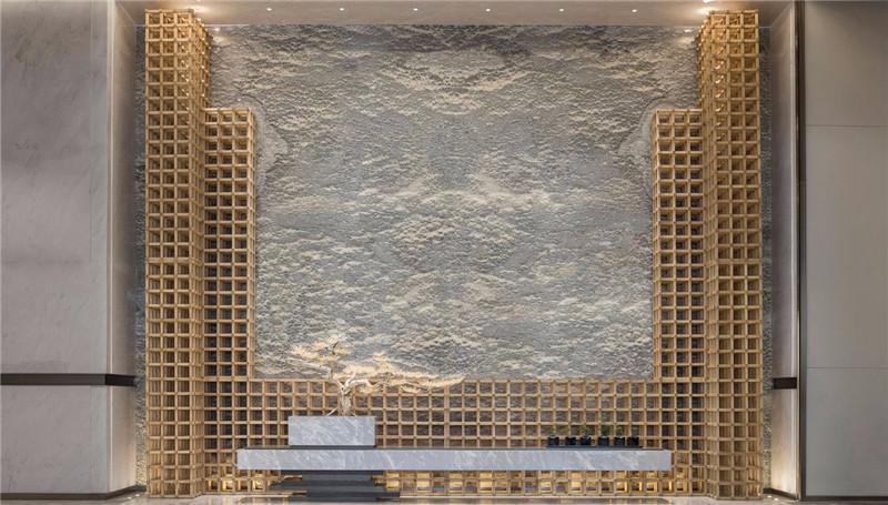 大厅背景墙设计-三亚现代中式洛克港湾五星级度假酒店设计案例