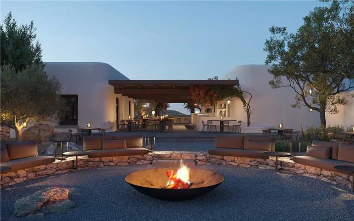 户外餐厅设计-静谧古朴的国外侘寂风度假酒店设计方案