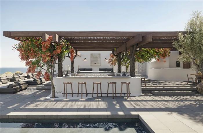 户外酒吧设计-静谧古朴的国外侘寂风度假酒店设计方案