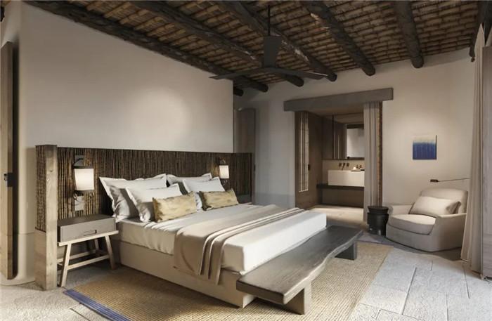 酒店客房设计-静谧古朴的国外侘寂风度假酒店设计方案