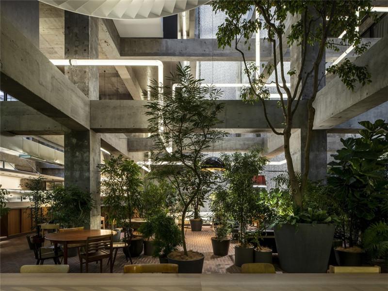 酒店餐厅设计-以绿色环保工业风为主题的精品酒店改造设计方案