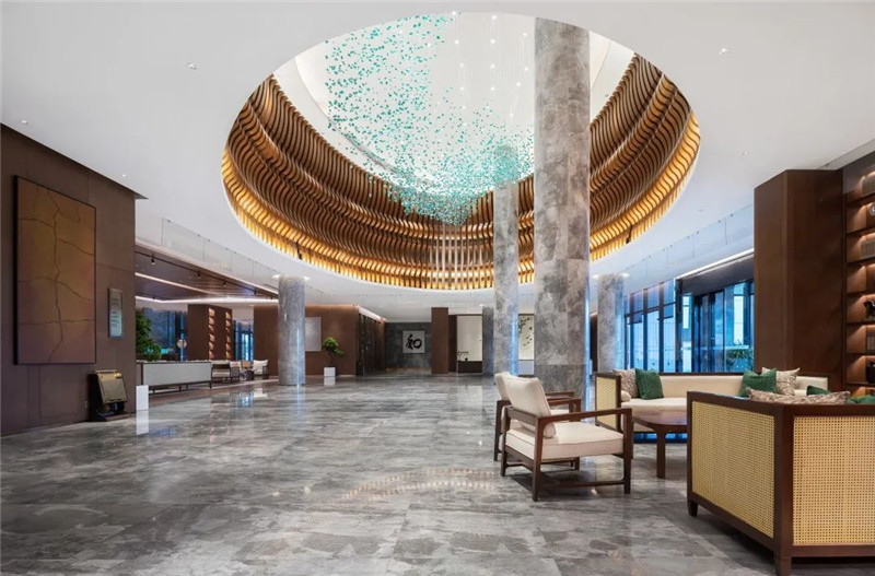 酒店大堂设计-现代与传统相融合的新中式温泉度假酒店设计案例