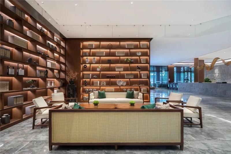 酒店大堂吧设计-现代与传统相融合的新中式温泉度假酒店设计案例