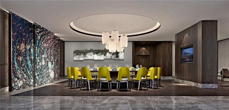 中式餐厅包房设计-现代与传统相融合的新中式温泉度假酒店设计案例