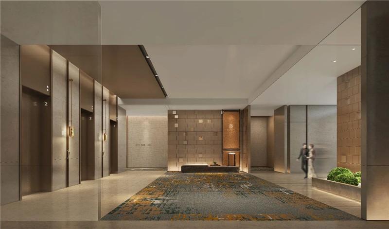 电梯厅设计-现代新中式岳阳铂尔曼五星级酒店设计赏析